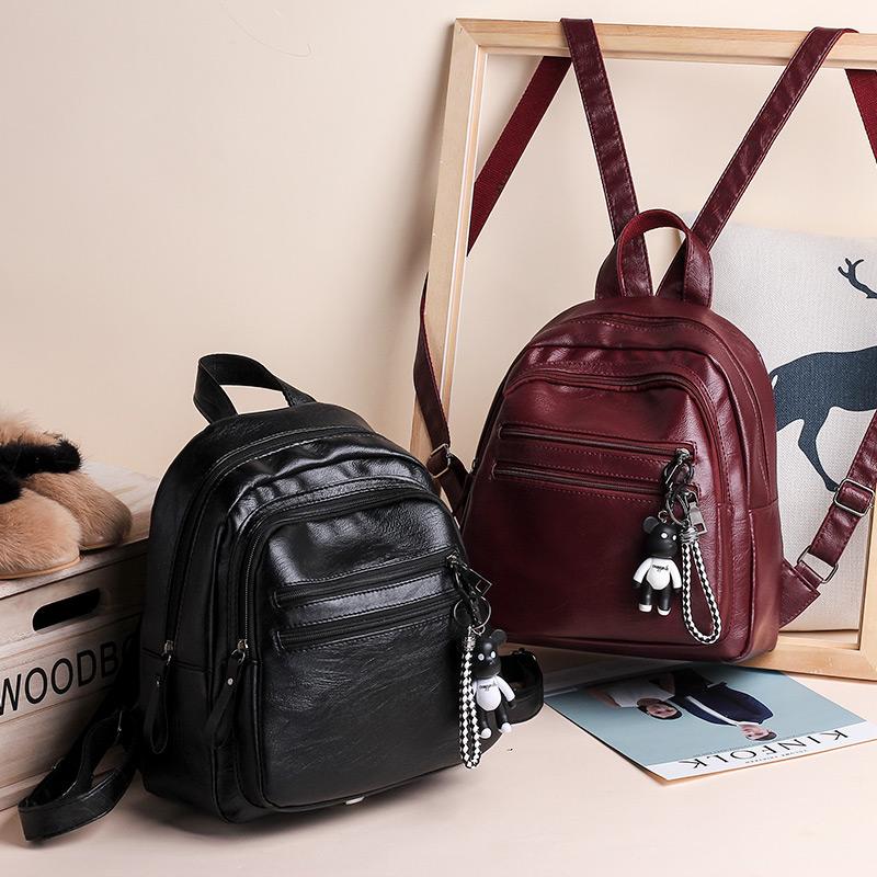 送小熊 爆款双肩包女背包女包新款2018休闲韩版大学生包百搭潮包