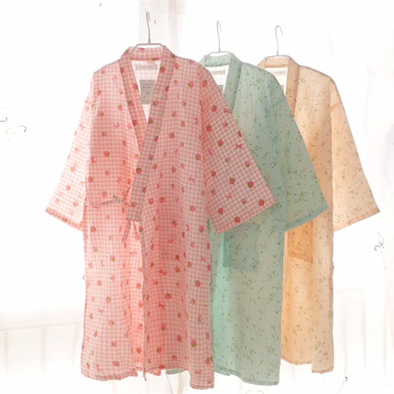 Nightdress bông gạc áo choàng tắm kimono áo choàng tắm đôi gạc áo choàng trong đoạn dài áo choàng mùa hè phần mỏng kimono áo choàng tắm