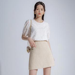 韩都衣舍2020夏季新款女装重工蕾丝洋气上衣短袖雪纺衫PS9109禄
