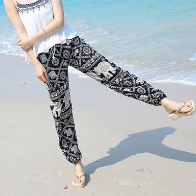 Mùa hè bohemian in nhân tạo bông lụa bãi biển quần phụ nữ quần dài củ cải củ cây bông lụa hậu cung quần Quần Harem
