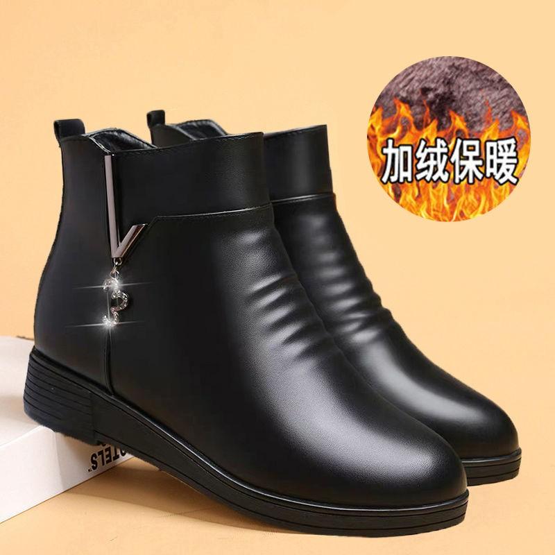 3妈妈鞋棉鞋女秋冬季中年软底短靴平底皮鞋加绒靴子中老年女鞋