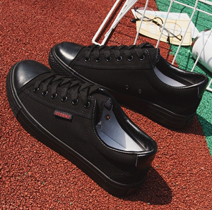 Tất cả các màu đen giày vải của phụ nữ hoang dã thở thấp để giúp đáy phẳng tie vài giày thường màu đen giày làm việc giày của nam giới