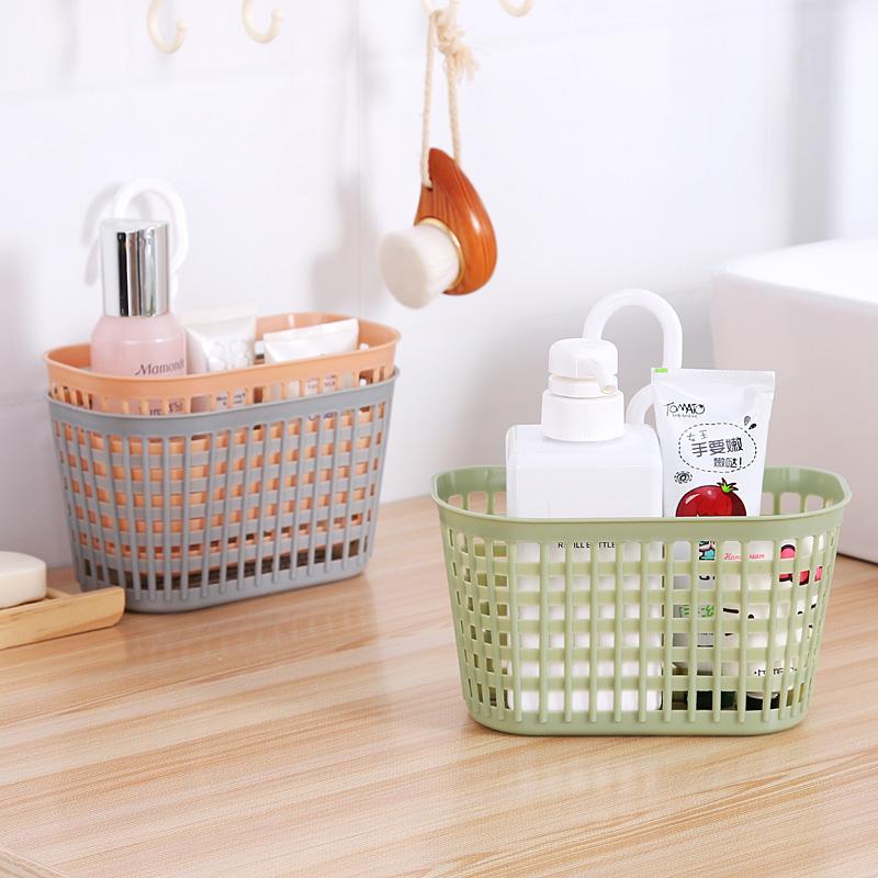 浴室沥水挂篮卫生间壁挂收纳筐可挂式洗澡小篮子杂物收纳篮塑料筐