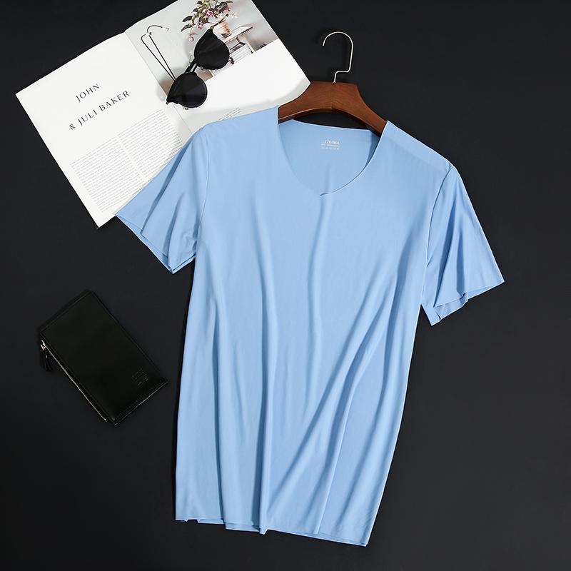 【冰丝T恤】夏季薄款男士短袖V领丝光棉
