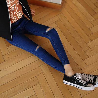 Mùa xuân và mùa hè Hàn Quốc phiên bản của eo cao căng kích thước lớn chặt chẽ chặt chẽ skinny chân đầu gối lỗ feet chín điểm denim quần triều nữ Quần jean