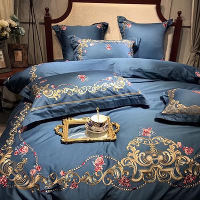 意大利重磅刺绣全棉四件套 60支双股长绒棉绣花婚庆床上用品1.8m