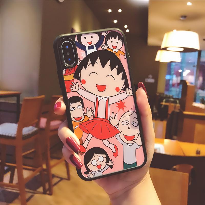 樱桃小丸子iphoneX手机壳苹果7plus硅胶6s卡通可爱6p粉色少女心8p