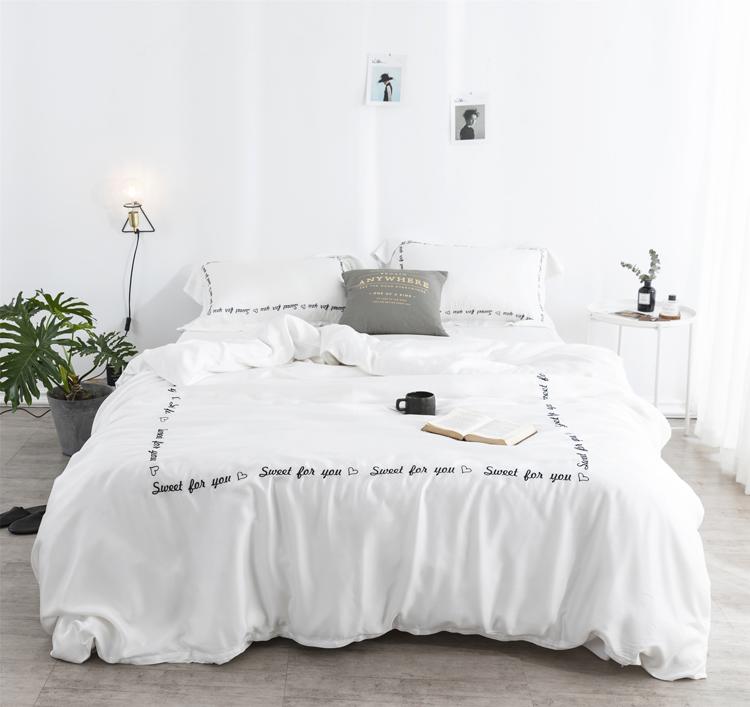 天丝四件套纯色双面欧式简约床上用品欧美风冰丝双人床单被套