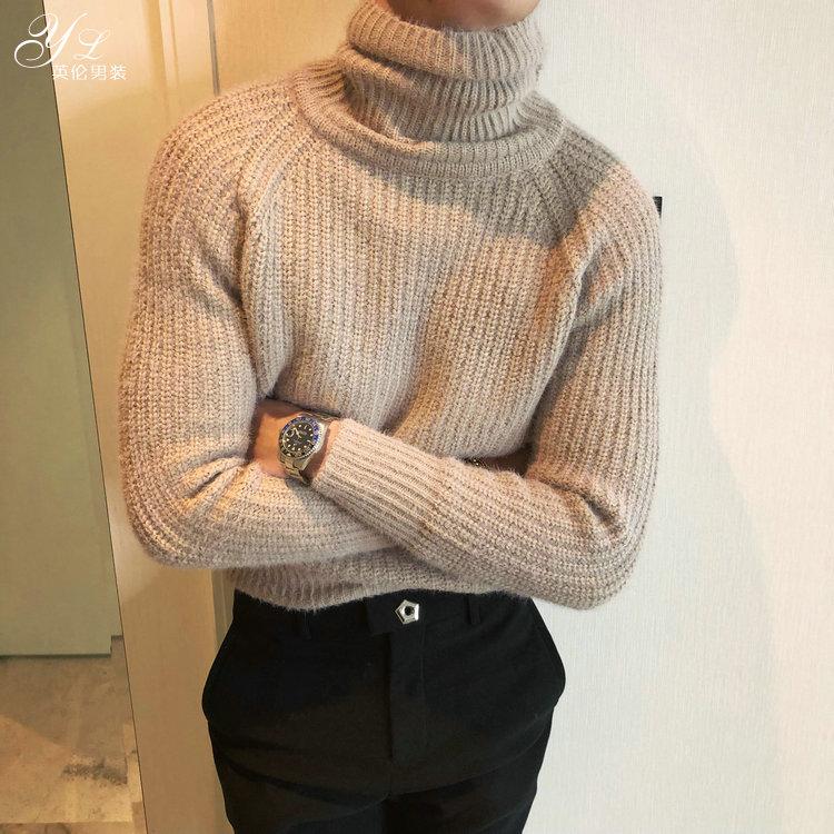Hàn Quốc Dongdaemun dày ấm áp cao cổ áo len nam thanh niên thời trang Hàn Quốc phiên bản của gió gió đan đáy xu hướng áo sơ mi