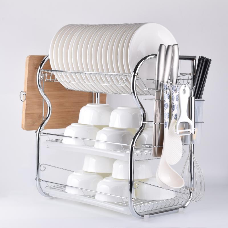 碗架三层厨房置物架不锈钢色盘沥水餐具控水晾放碗碟架碗筷收纳盒