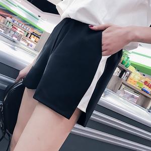 实拍韩版女夏季百搭宽松学生阔腿裤休闲跑步运动短裤热裤子潮