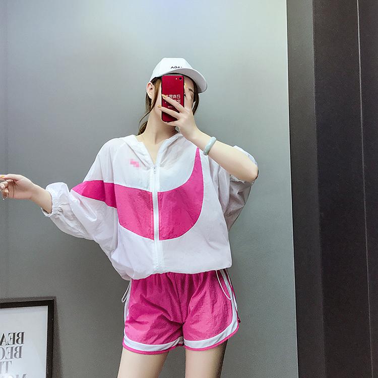8589#实拍现货2018夏季新款拼色防晒服拉链开衫加松紧腰短裤套装