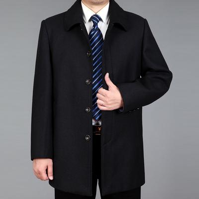 Mùa xuân và mùa thu mới nam cha nạp trung niên áo len nam dài áo khoác dày áo gió áo khoác Áo len