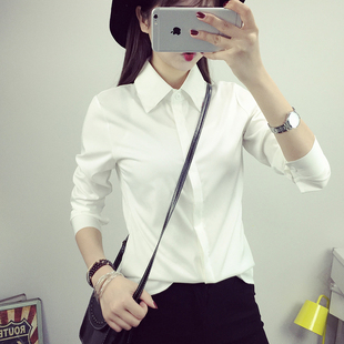 Рубашка женщина с длинными рукавами женщины - белый оккупация установлены рабочие наряд одежда корейский вентилятор свободные большой размеров дикий студент большой двор рубашка куртка