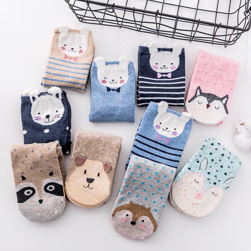 韩国卡通可爱女袜中筒袜情侣袜学生圣诞节送礼品圣诞袜羽毛纱女袜