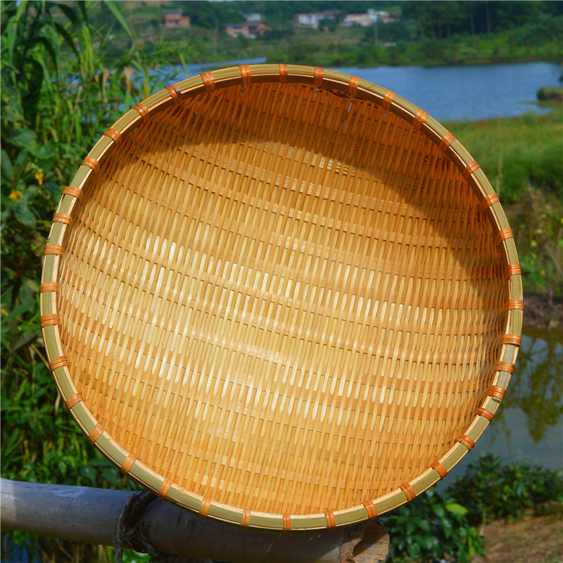 bamboo weaving dustpan circular seive receive peasant bamboo products bamboo sieve basket household perforated fruit basket wash dish round basket