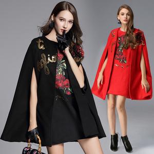 实拍215#  2017欧洲站刺绣毛呢外套大衣女中长款亮片套装裙两件套