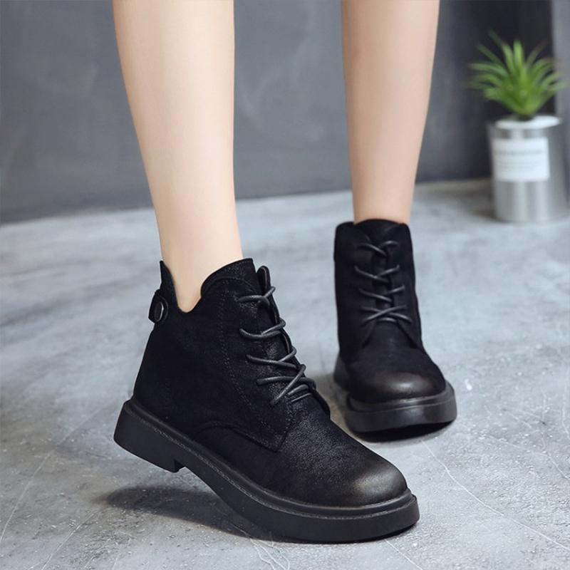 2018秋冬季ins新款短靴女chic马丁靴英伦风学生韩版系带短筒靴子