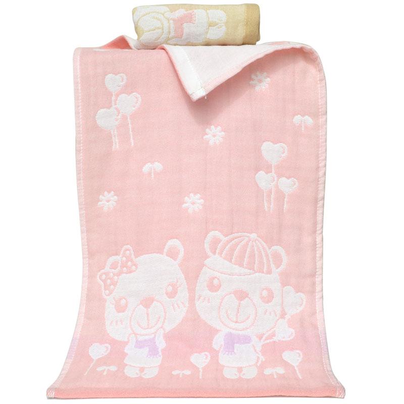 6条纯棉纱布儿童小毛巾三层吸水童巾