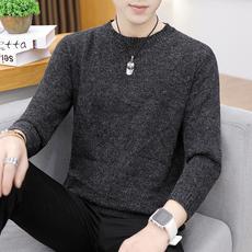 毛衣男秋冬季韩版纯色套头针织衫打底衬衫领男士带衬衣领内搭衣