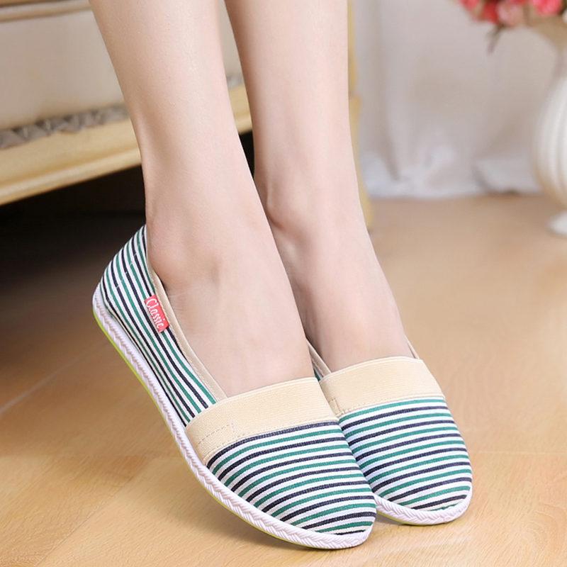 彩虹条纹女鞋秋季老北京布鞋帆布面舒适透气妈妈平底单鞋孕妇鞋子