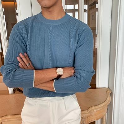 韩国纯色个性扭花时尚毛衣百搭套头针织衫复古青年保暖毛衣帅气潮