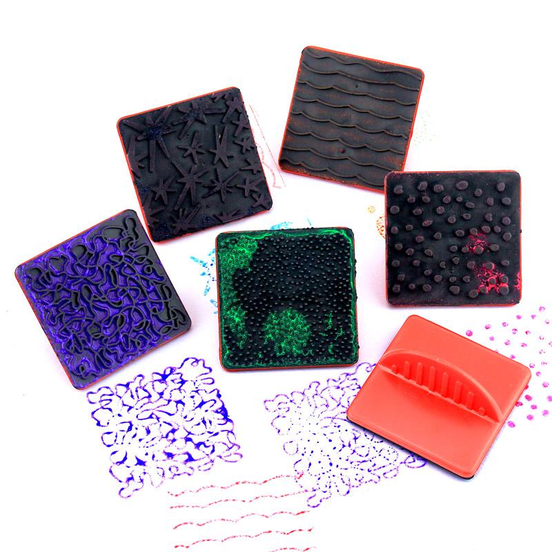 Trẻ em mẫu giáo của graffiti tranh mềm con dấu cao su 6 hình học tem bàn chải vẽ tranh nghệ thuật nguồn cung cấp bức tranh