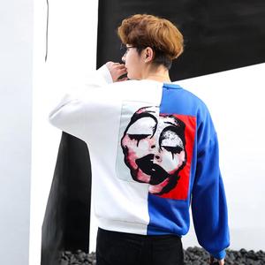Guochao cao đường phố nam dài tay T-Shirt chú hề in ấn vá thêu áo len Hàn Quốc phiên bản của triều thương hiệu người yêu tuổi teen