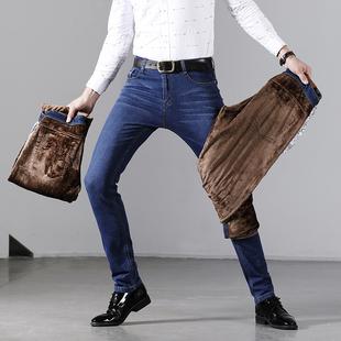 2019男士新款加绒加厚牛仔裤直筒休闲裤