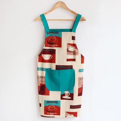成人韩式无袖围裙男女情侣厨房做饭防污时尚背带纯棉短袖围裙新款