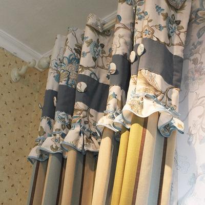 美式乡村怀旧地中海田园条纹客厅卧室拼接飘窗