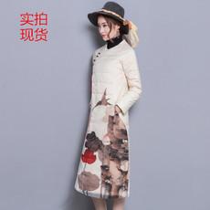 2017冬中国民族风女装修身显瘦外套长款过膝定位印花羽绒服6525#