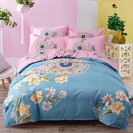 简约床上用品四件套纯棉1.8m床双人卡通全棉床单被套1.5m床三件套