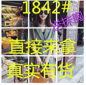 格子连体裤女2018夏季新款V领系带显瘦复古宽松阔腿短裤连衣裤潮