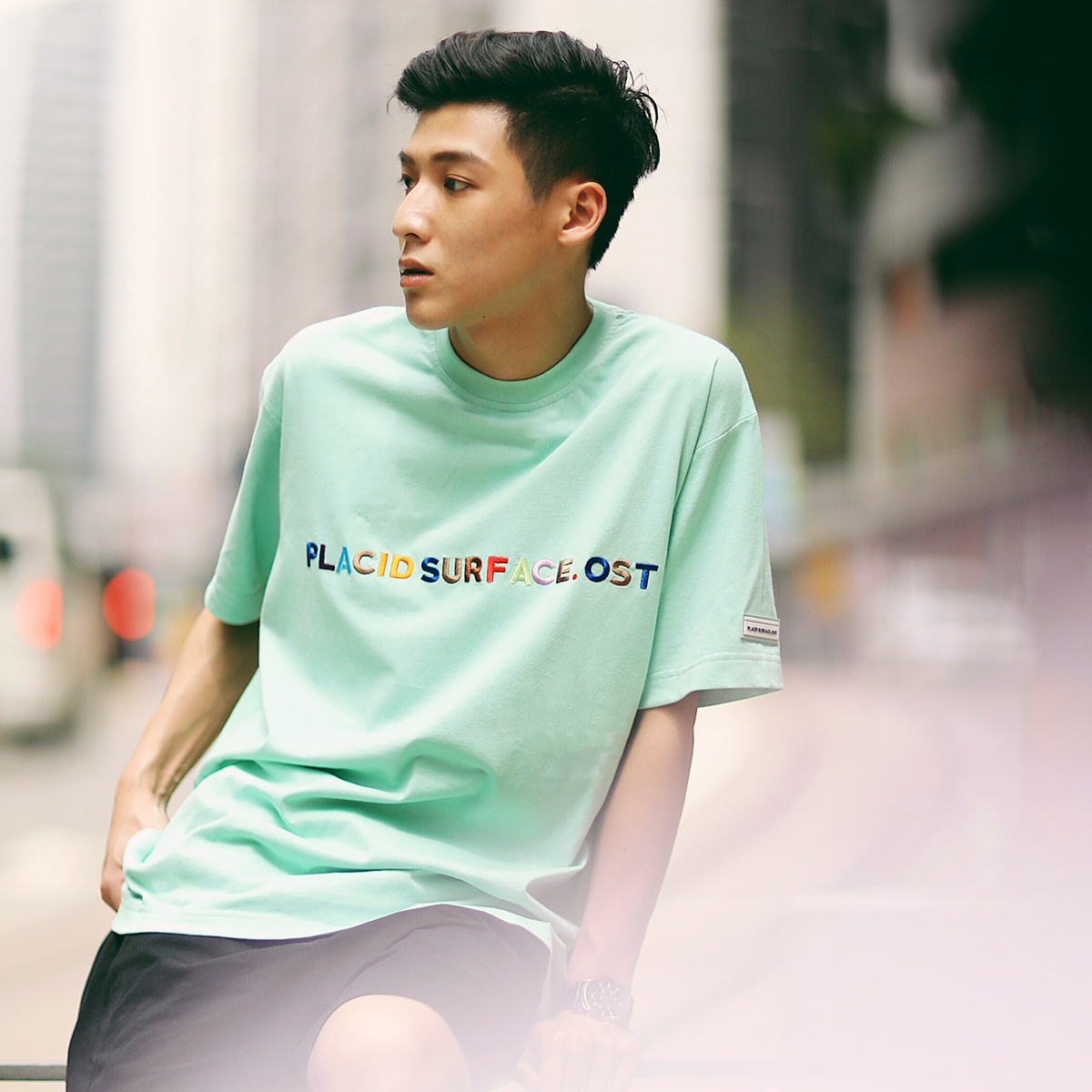 PSO Brand 品牌绣花款原创潮牌纯棉圆领半袖彩虹短袖字母T恤男