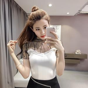 853#亚博娱乐平台入口!夏季新款韩版修身显瘦短袖拼接网纱针织t恤女