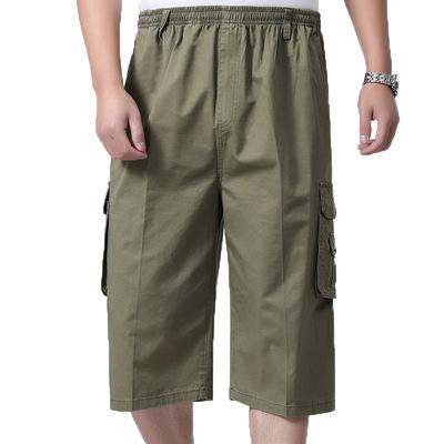Mùa hè phần mỏng người đàn ông trung niên của cắt quần quần short daddy quần trung niên lỏng lẻo cao eo cotton bãi biển quần
