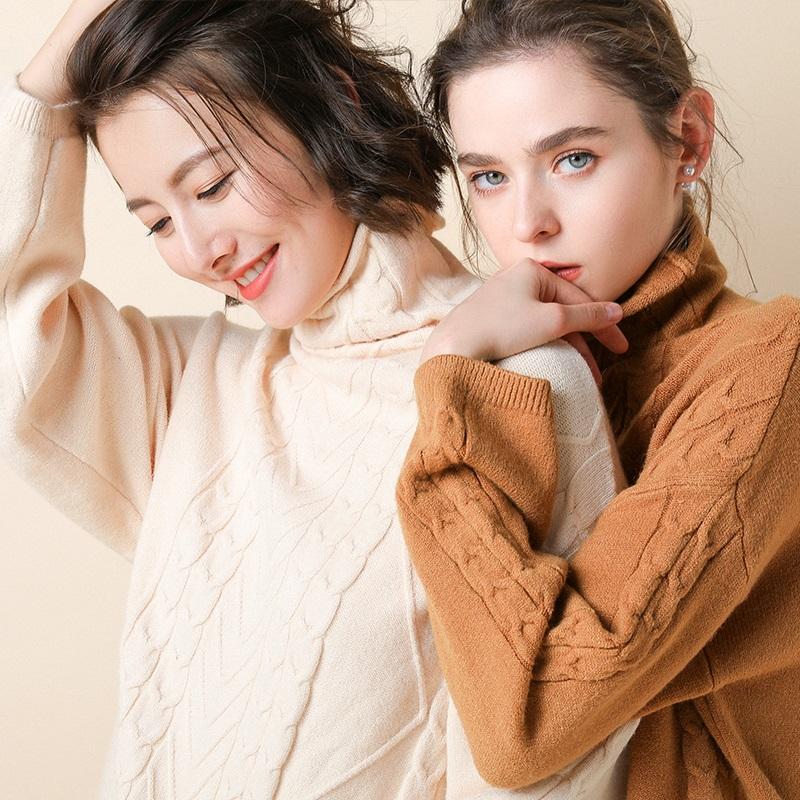 高领毛衣女秋冬加厚修身堆堆领打底套头毛衣女针织衫长袖大码宽松