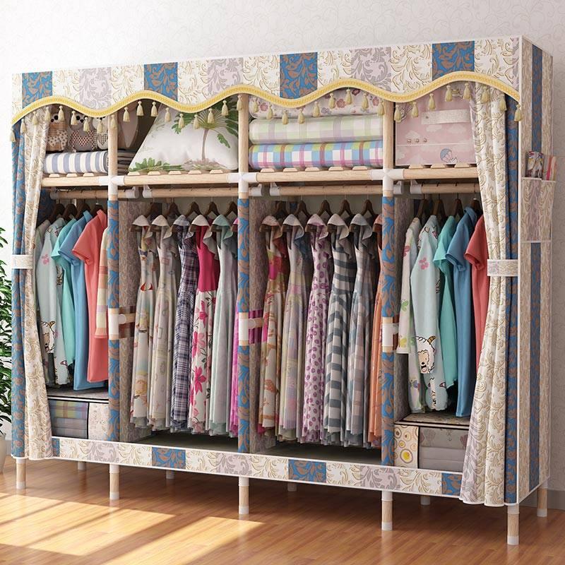 【特价大号加粗实木】简易布衣柜实木衣柜衣橱收纳架衣柜收纳柜1