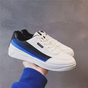 2018港风帆布鞋休闲学生透气板鞋时尚潮流条纹男鞋