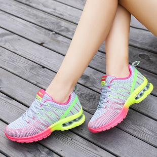 春季新款飞织运动鞋女透气网布气垫鞋