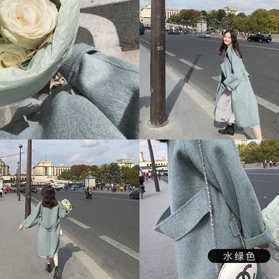 张大奕H型呢大衣双色羊绒中长款纯色直筒甜美型