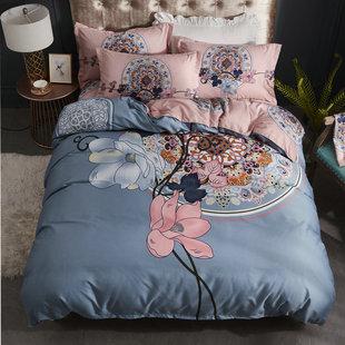 四件套全棉纯棉床单被套双人简约欧式