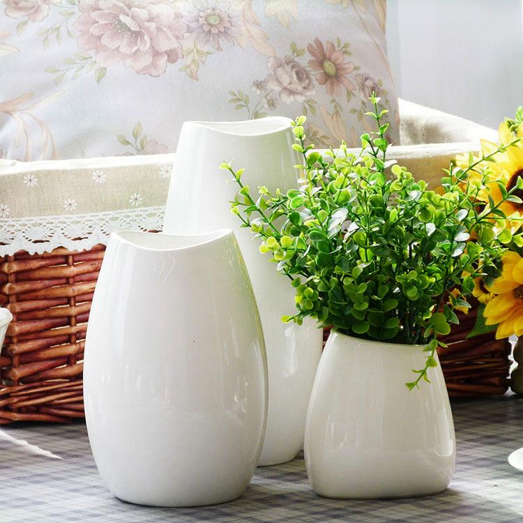 客厅陶瓷花瓶摆件白色花瓶干花花插美式陶瓷花瓶三件套家居装饰