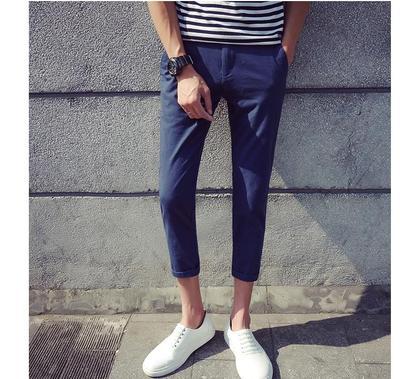 Mùa hè của nam giới vớ tám quần Slim Hàn Quốc phiên bản của bàn chân đàn hồi chín quần giản dị England 8 điểm triều quần của nam giới