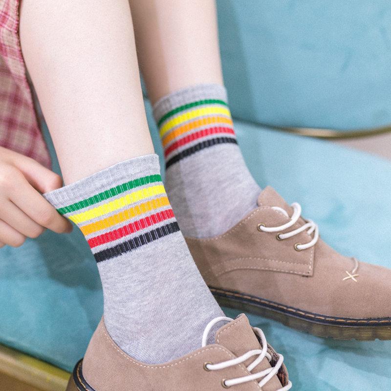 3双日系学院风中筒女袜子棉女可爱学生秋季防臭吸汗单鞋运动长袜