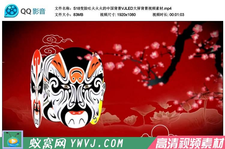 S18 变脸吐火红红火火 中国风晚会节目背景VJLED大屏背景视频