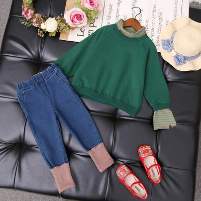 女童秋装套装新款儿童宝宝洋气牛仔时尚网红两件套时髦潮