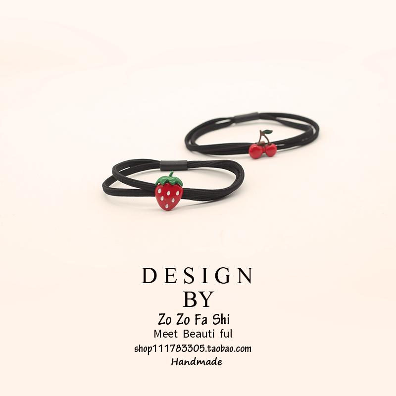 森女系红色樱桃合金可爱水果发圈韩国发绳小清新个性头绳皮筋发饰
