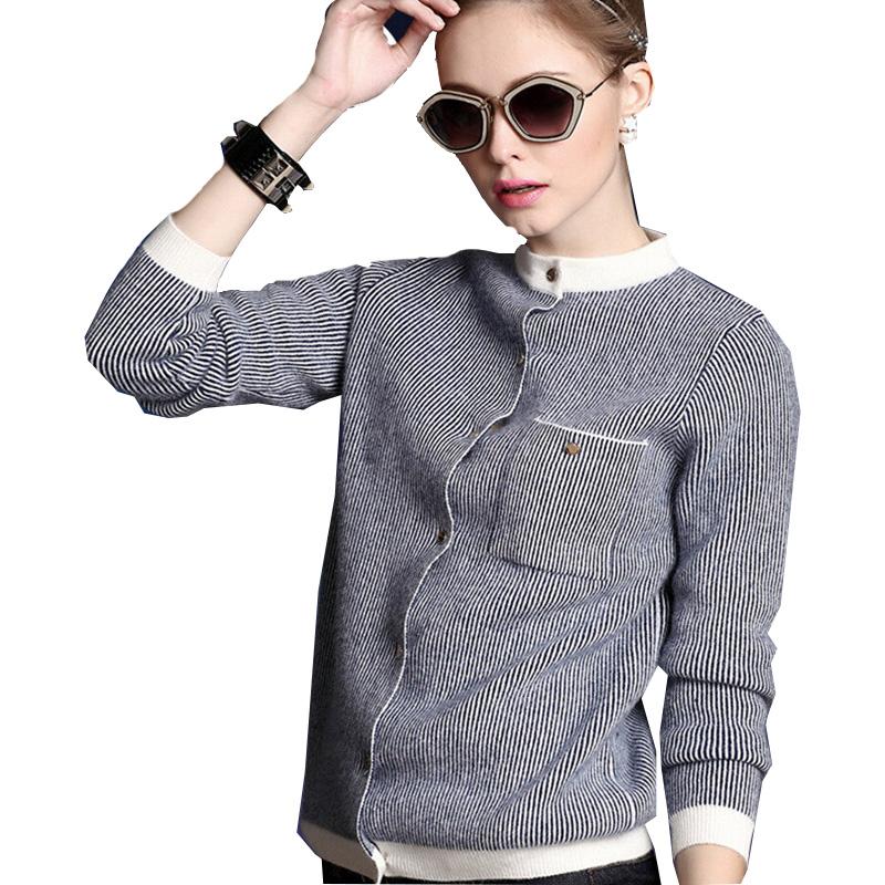 新款韩版秋冬季女装半高领开衫加厚竖条纹针织条纹短款毛衣外套